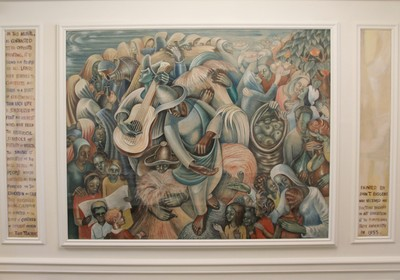 Lobby mural - 'Day of the Harvest (Harvest Song)' by John T. Biggers