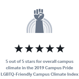 5 out of 5 stars for overall campus climate in the 2019 Campus Pride LGBTQ-Friendly Campus Climate Index